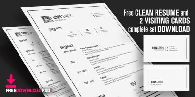 Free Clean Resume and 2 Visiting Cards complete set Download From freedownloadpsd.com