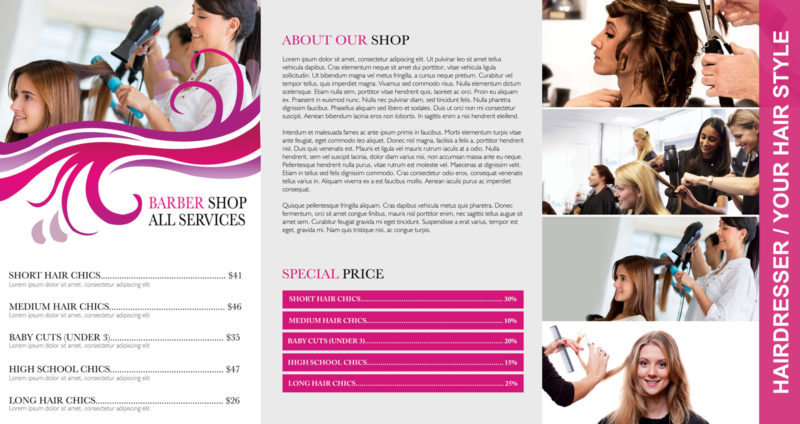 Free Barbar Shop Tri Fold PSD Brochure Template Download, Barber Shop, Hair  Dresser  Free Brochure Templates For Word To Download