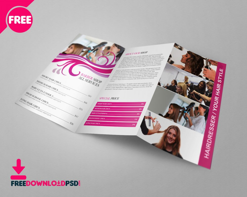 Free Barber Shop TriFold PSD Brochure Template Download - Psd brochure template