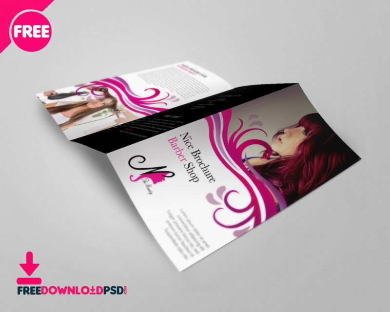 Free Barber Shop Tri-Fold PSD Brochure Template Download