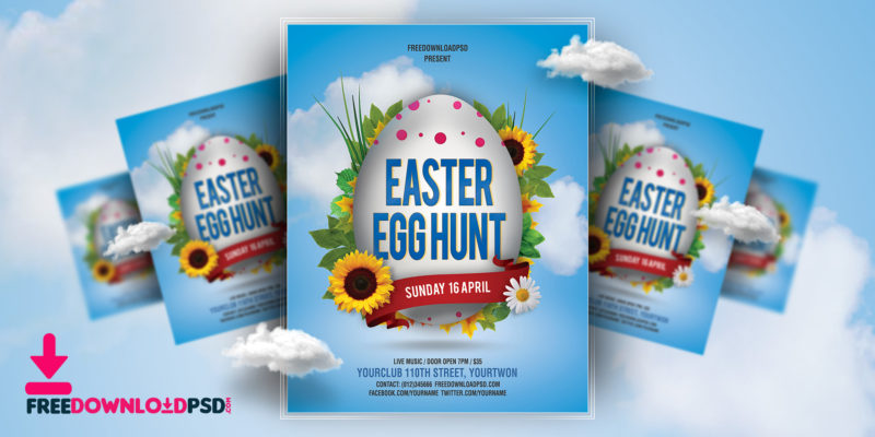 Free Easter Egg Hunt Flyer Template  FreedownloadpsdCom
