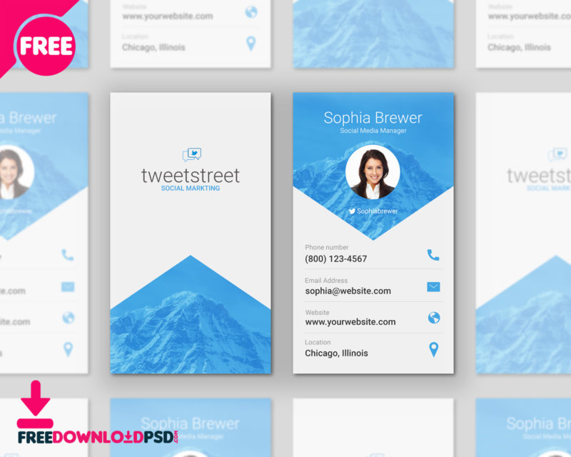 Free Material Design Business Cards PSD FreedownloadPSDcom - Social media business card template free