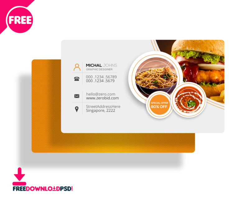 10 best business cards free psd psddaddycom for Catering business cards templates free download