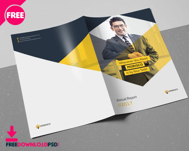 Annual Report Brochure Template FreedownloadPSDcom - A5 brochure template