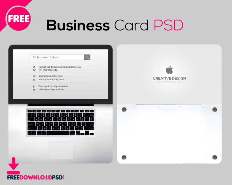 Free laptop business card psd freedownloadpsd business cards business card size business card holder business card design business fbccfo Image collections