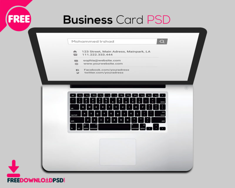 Free laptop business card psd freedownloadpsd business cards business card size business card holder business card design business reheart Images