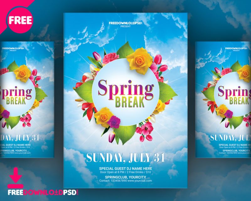 Spring Break Flyer Free Template FreedownloadPSDcom - Free templates for brochures and flyers