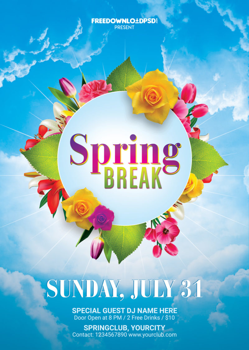Spring break flyer free template freedownloadpsd free spring templates spring flyer spring flyer design spring templates free spring mightylinksfo