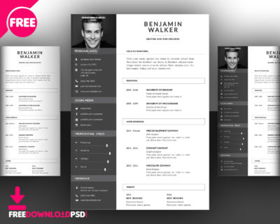 Clean Resume Template Free PSD