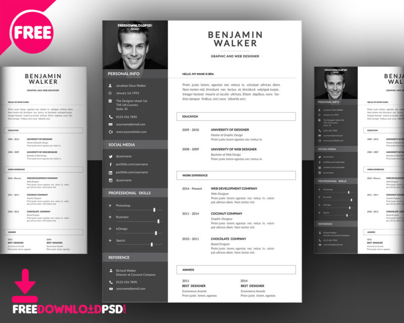 Clean Resume Template Free PSD   FreedownloadPSD.com