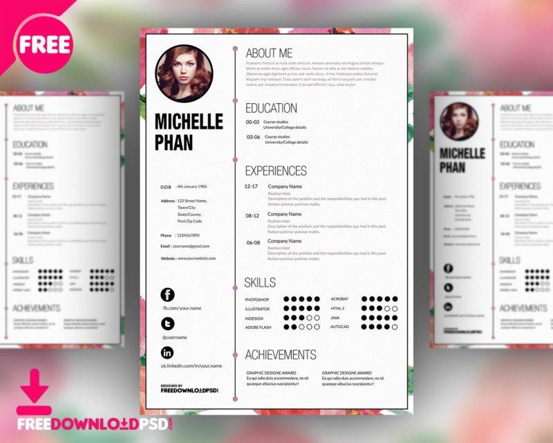 Clean Resume Template Free PSD | FreedownloadPSD.com