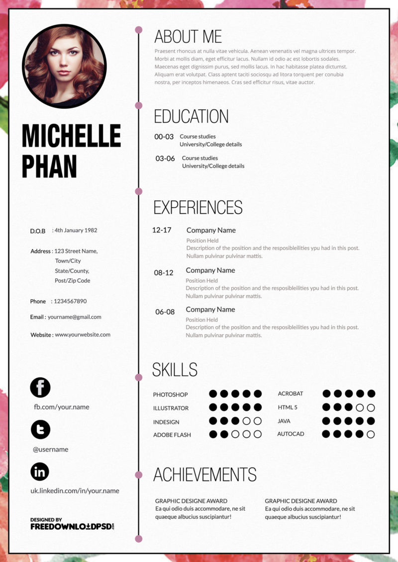 Designer cv template free psd for Reseume templates