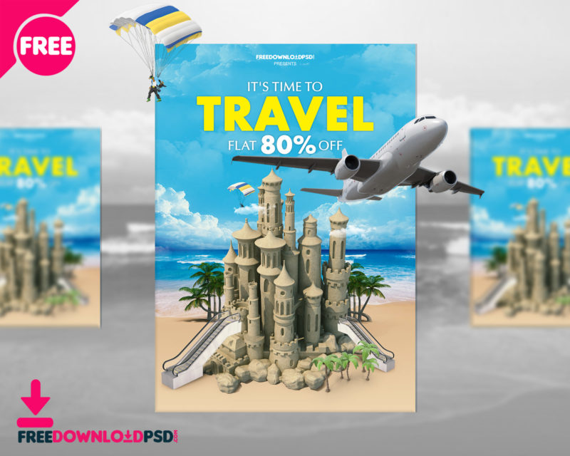 Travel Flyer Template FreedownloadPSDcom - Tourism flyer template