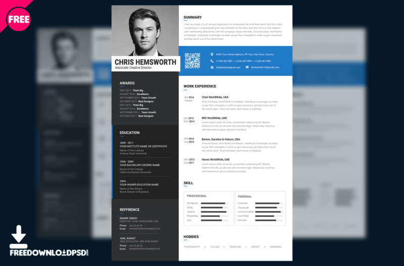 Free Resume Template PSD  Resume Template Psd