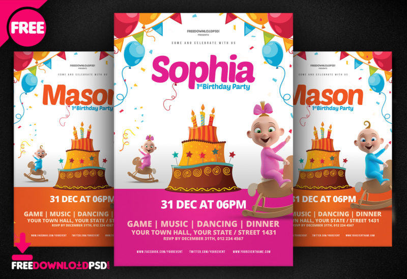 Birthday Flyer Design Invitations Party Club