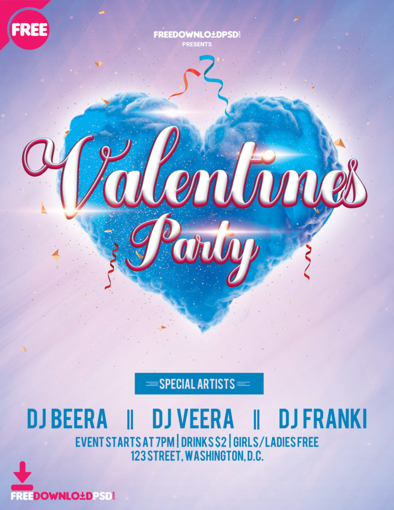 Happy Valentine S Day Flyer Template Freedownloadpsd Com