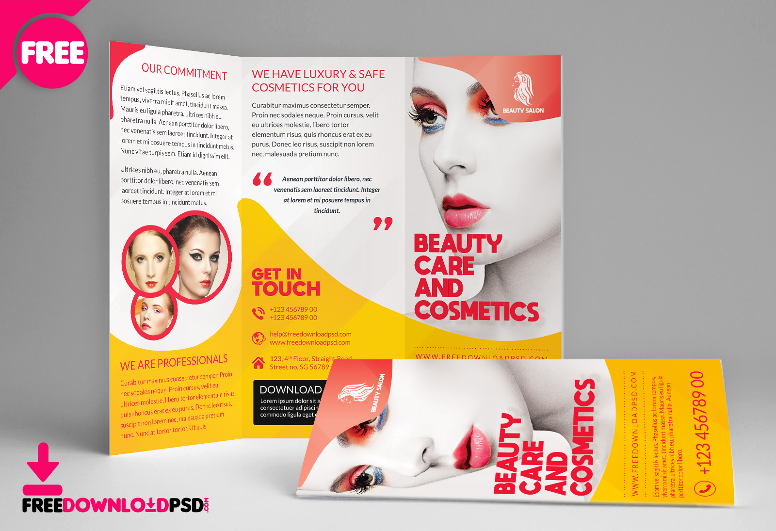 Beauty Salon TriFold Brochure Template | FreedownloadPSD.com