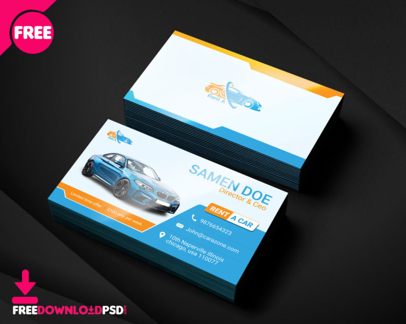 Free rent a car business card template freedownloadpsd automotive business card templates psd rent a car business card template free rent a accmission