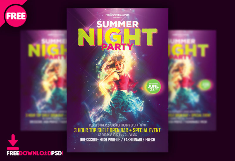 summer night party flyer template psd freedownloadpsd com