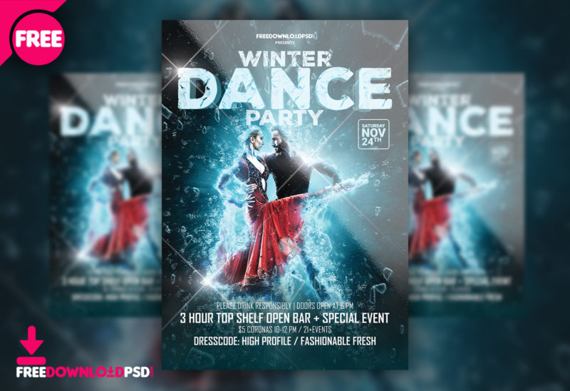 free winter dance party template psd freedownloadpsd com