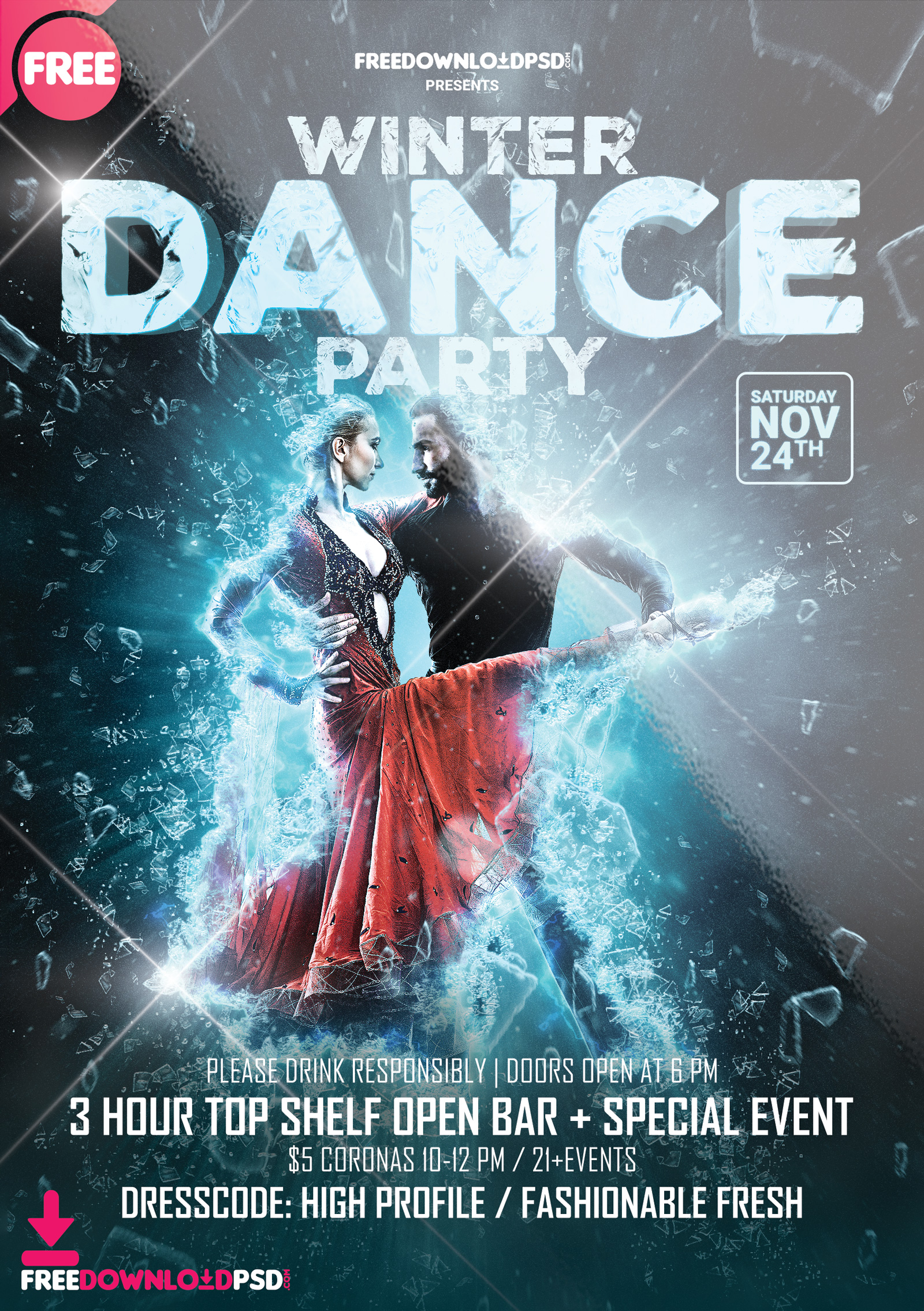 Free Winter Dance Party Template Psd Freedownloadpsd