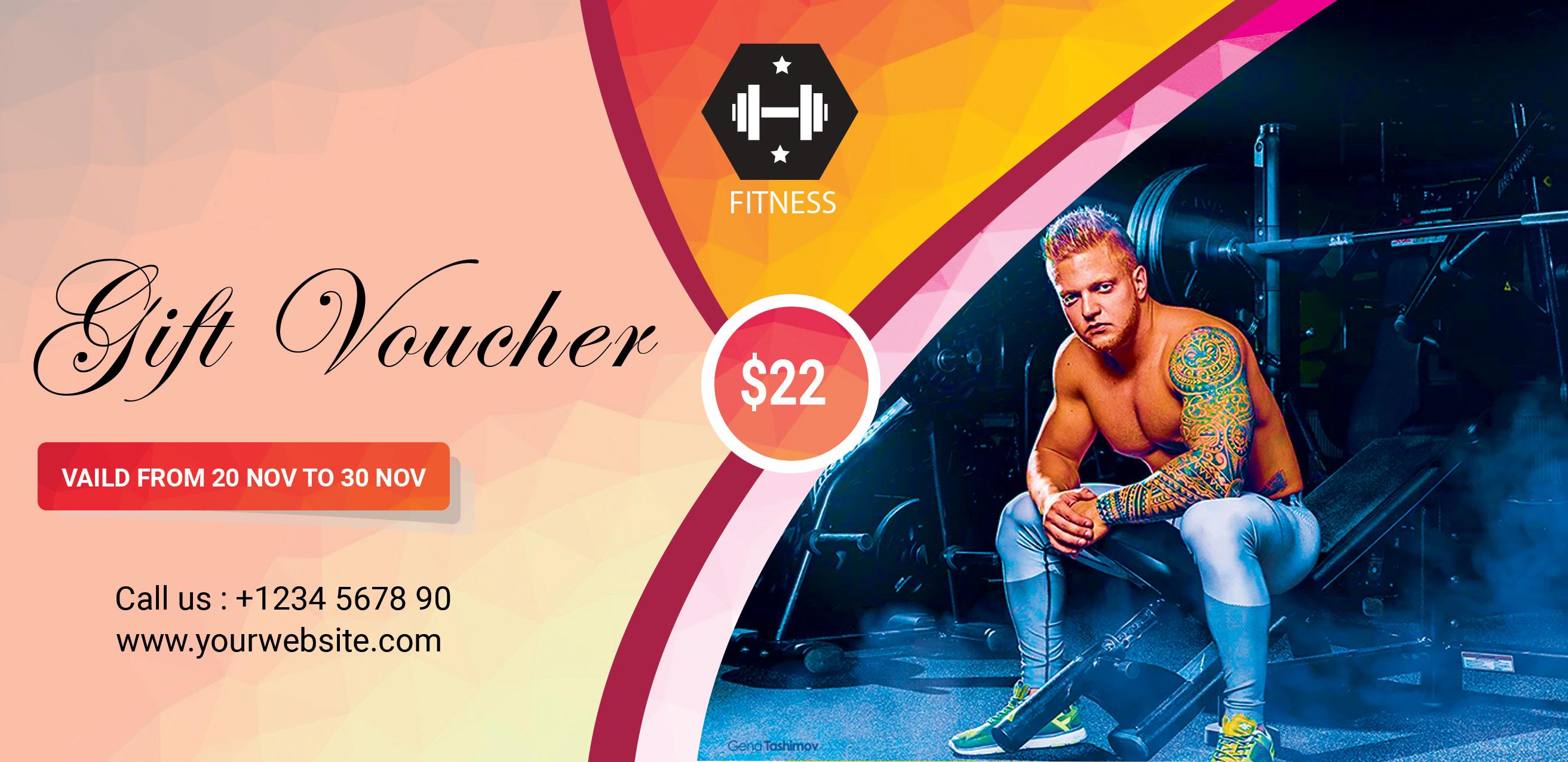 gym gift voucher psd template