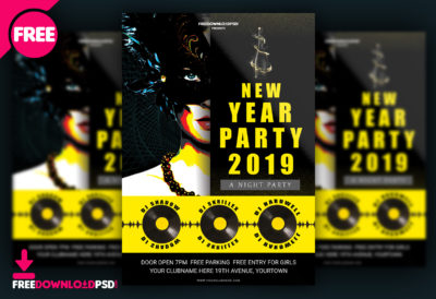 happy new year party flyer psd template