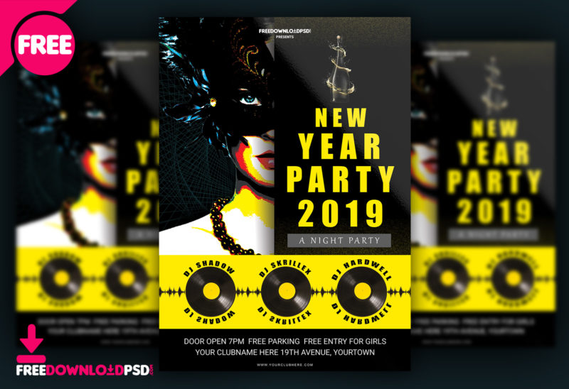 happy new year party flyer template