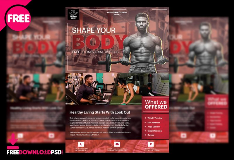 gym flyer psd template