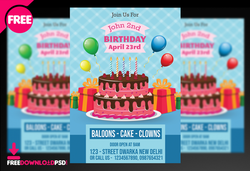 Birthday Flyer Template Wordparty Background Designfree Party Maker App
