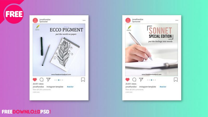Premium Pen Social Media Posts | FreedownloadPSD com